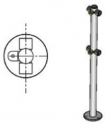 Стойка ограждения с 2-мя полупетлями (под поворотные створку и секцию) Praktika