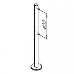 Стойка из 48мм трубы на фланце с тремя крепежными отверстиями OMA-02.366_A